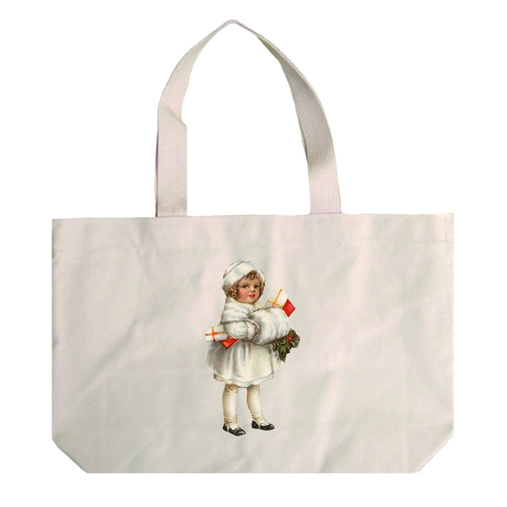 Natural Canvas Beach Tote Girl In White Coat Vintage Look #1 By Style In Print