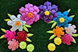 Bright Multicolor III Paper Flowers for Backdrops - Includes 7 Paper Flowers and 3 Pairs of Paper Leaves - Fully Assembled