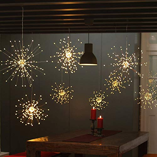 Twinkle Star 120 Led Firework String Lights Battery Operated,Hanging Starburst Light with Remote Control Starry Fairy String Lights Decor for Indoor Outdoor Christmas Party Garden, 2 Pack,Warm White for $<!--$19.99-->