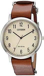Citizen Men's 'Eco-Drive' Quartz Stainless Steel and Leather Casual Watch, Color:Brown (Model: BJ6500-21A)