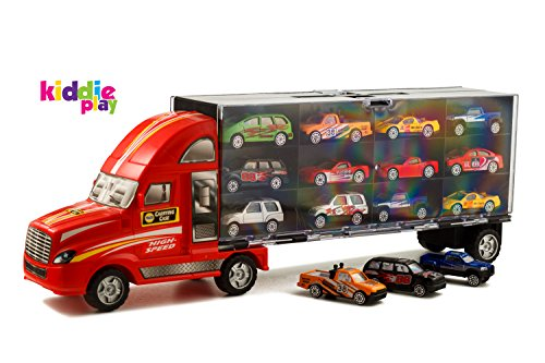 Kiddie-Play-19-Car-Carrier-Truck-Toy-Transporter-Loaded-with-Metal-Toy-Cars-13-Piece-Set