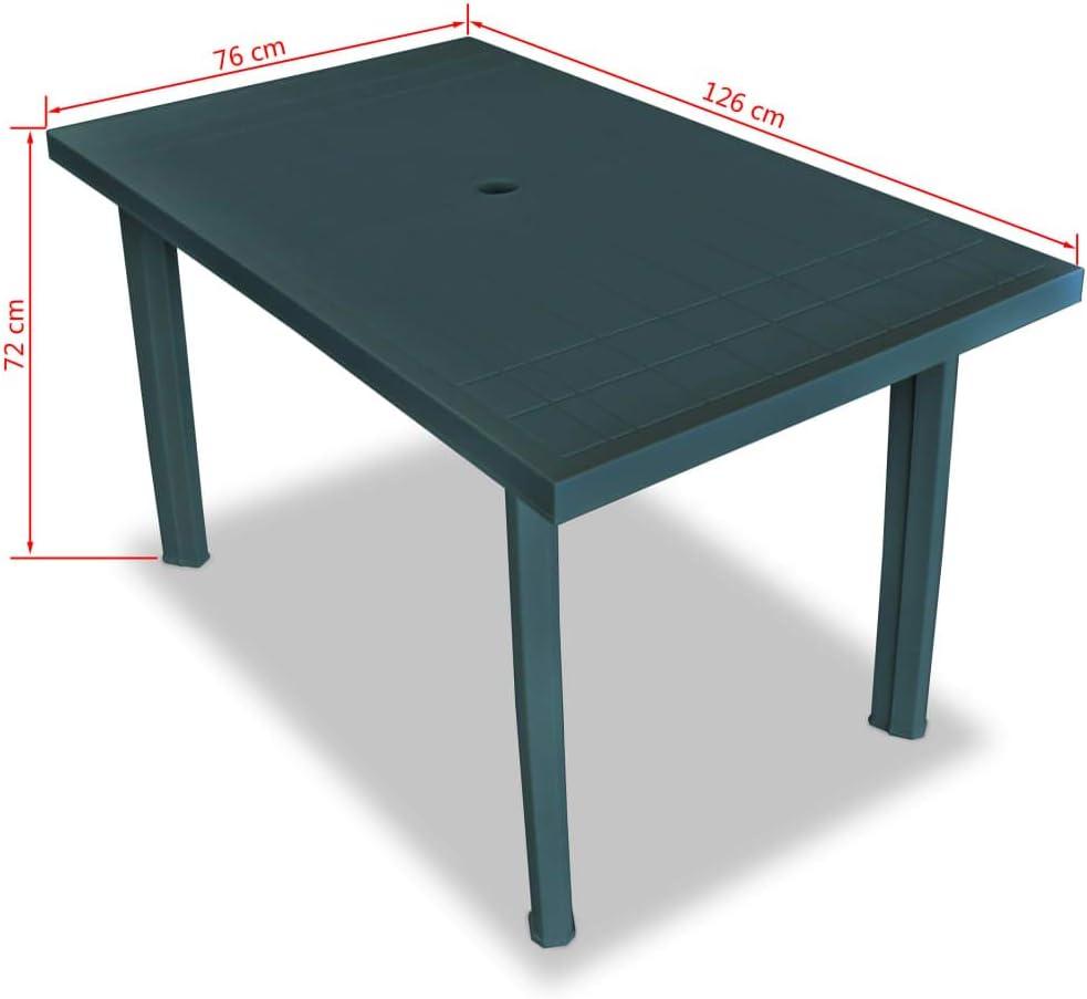 Tuduo Mesa de jardín 126 x 76 x 72 cm de plástico Verde diseño ...