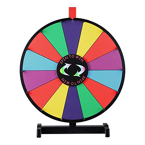 Best Price! WinSpin 18-inch Round Tabletop Color Prize Wheel 14 Clicker Slots Editable Fortune Desig...