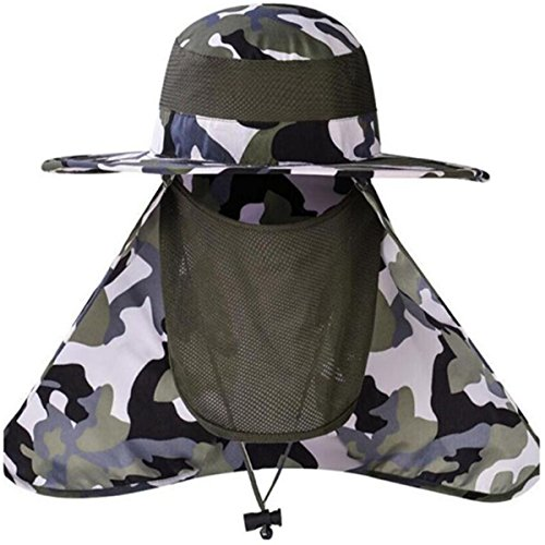 Dealsboom Sun Cap Men Summer Fishing Hat Wide Brim - Flap Hats UV 360° Solar Protection UPF 50+ Sun Cap Removable Neck&Face Flap Cover Caps for Outdoor Sports & Travel (Camouflage)