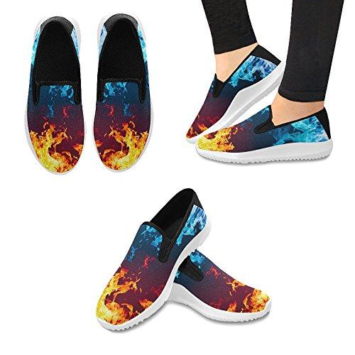 Scarponcino Rosso E Blu Di Interestprint Su Mocassini Slip-on Black Da Donna Sneakers In Tela Multi Moda 1