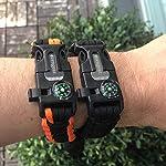 aZengear Bracelet de Paracorde et Survie pour Homme Femme - Militaire Kit avec Allume-feu - Boussole - Sifflet… 9