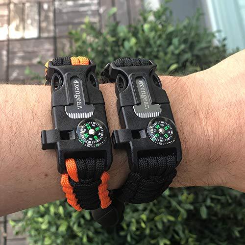 aZengear Bracelet de Paracorde et Survie pour Homme Femme - Militaire Kit avec Allume-feu - Boussole - Sifflet… 4