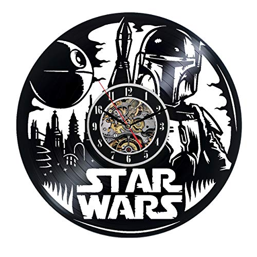(Star Wars Boba Fett Wall Clock 12 in(30cm) Black Decor Modern Decorative Vinyl Record Wall Clock This Clock is A Unique Gift to Your Friends and Family for Any Occasion)