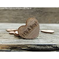 Wooden Heart Confetti ~ It's A Boy ~ Wood Hearts, Wood Confetti Engraved Love Hearts- Rustic Wedding Decor (100 count)