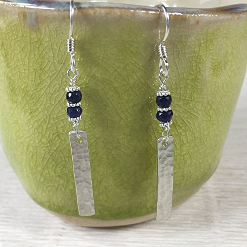 JANECKA Natural Sapphire Earrings / Handcrafted 925 Sterling Silver Bar / September Birthstone by B JANECKA
