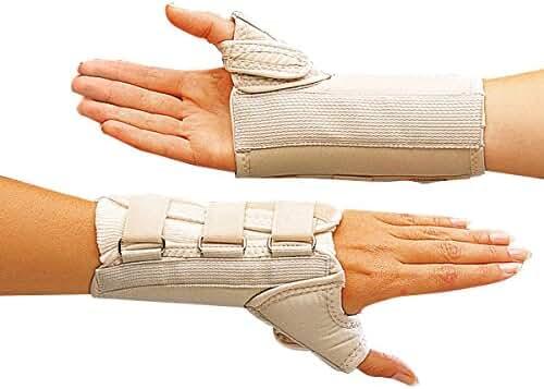 Rolyan A6156 D-Ring Wrist and Thumb Spica Splint for Right Wrist, Medium