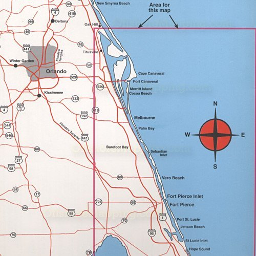 Map Of Fort Pierce Florida.Amazon Com Top Spot Map N220 East Florida Sports Outdoors