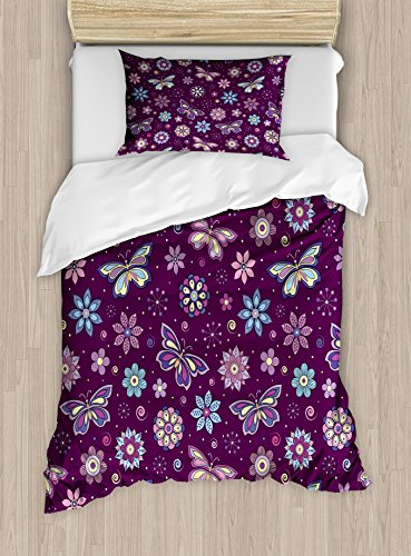 Ambesonne Butterfly Duvet Cover Set Twin Size, Vortex Shapes with Polka Dots Background Flower Pattern Colorful Animal Design, Decorative 2 Piece Bedding Set with 1 Pillow Sham, Multicolor ()