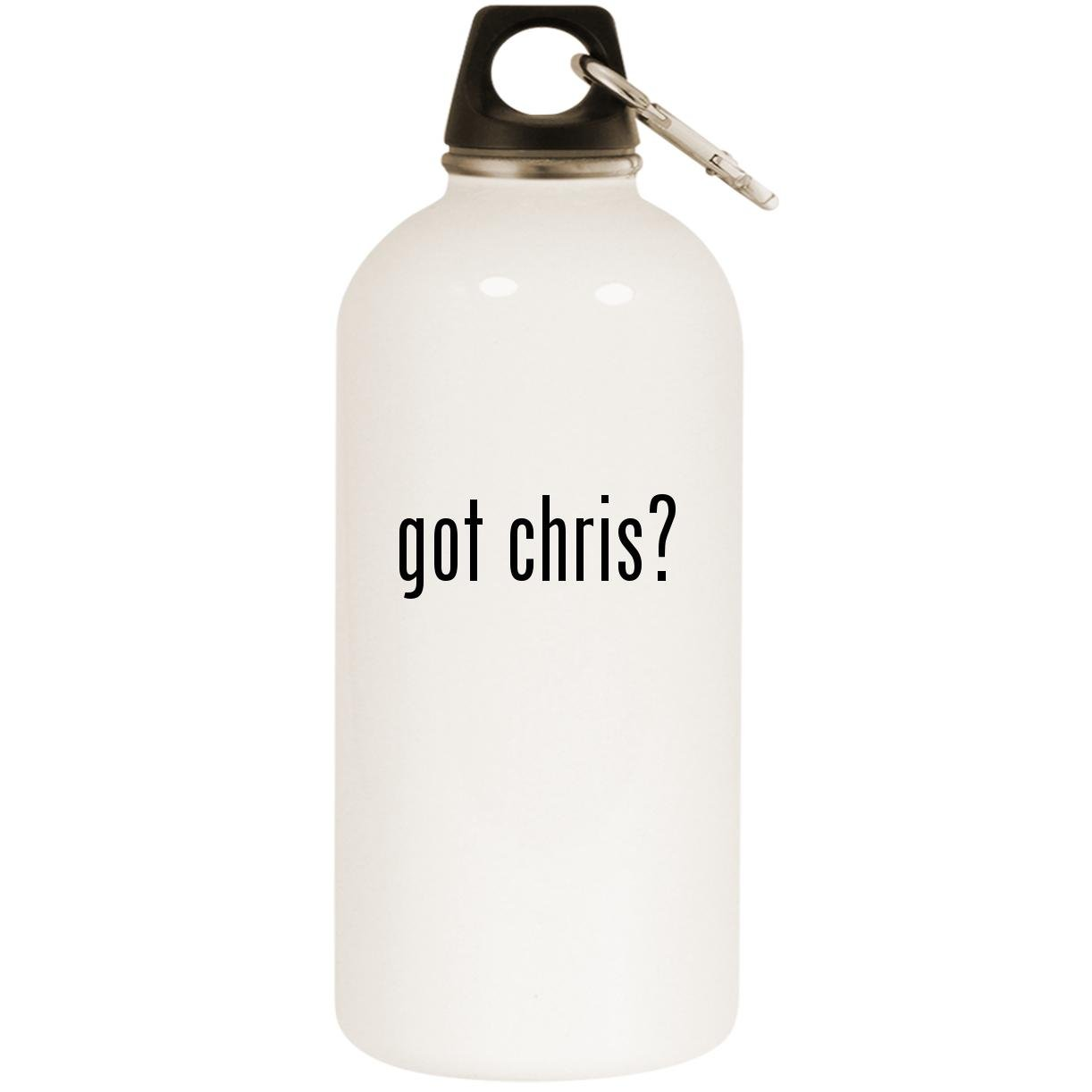 got chris? - White 20oz Stainless Steel Water Bottle with Carabiner