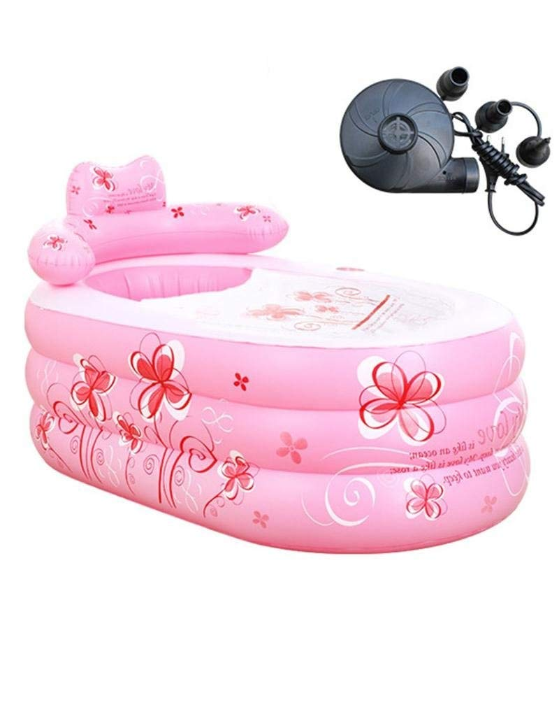Printing Inflatable Bathtub Adult Bathtub Folding Bathtub Children's Bathtub, Plastic Portable Foldable Trip Shower Pool GAOFENG (Color : Pink, Size : 1609075cm)