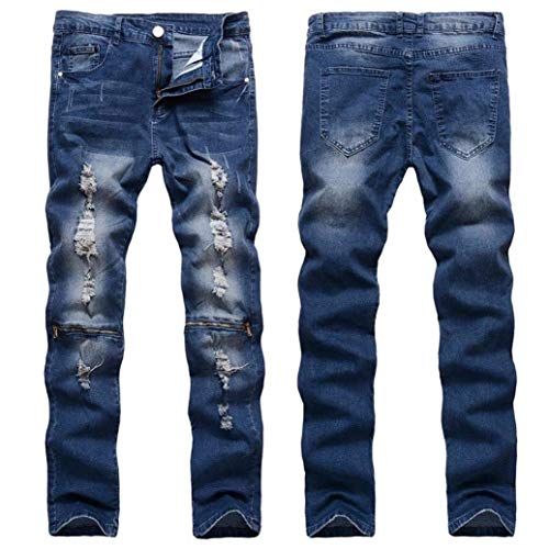 Biker Jeans Straight Stretch Destroyed Denim Ripped Taped Skinny Pants Pantaloni Blau Giovane Fit Slim Dasongff q48wqrI