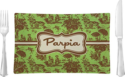 Green & Brown Toile Glass Rectangular Lunch/Dinner Plate (Personalized) (Brown Plates Toile)