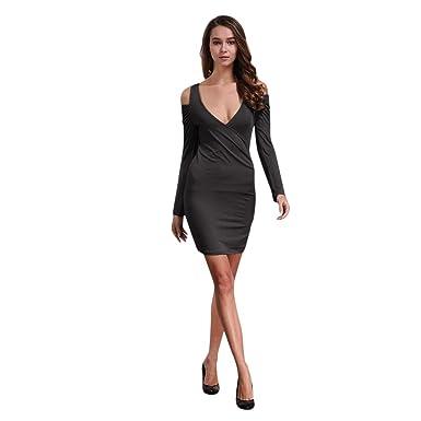 2d023b25bcd1d Women's Cold Shoulder Party Dress Elegant Plain Deep V Neck Long Sleeve  Bodycon Wrap Mini Dresses