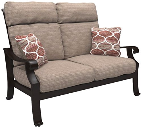 Ashley Furniture Signature Design - Chestnut Ridge Outdoor Loveseat with Cushion - Brown (Patio Summer Cottage Furniture)
