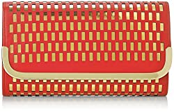 La Regale Lazer Cut Perforated Metallic Clutch, Red, One Size