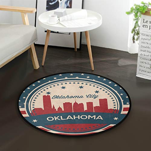 Oklahoma City Retro Skyline Kids Round Rug Baby Crawling Non-Slip Mats Child Activity Play Mat for Bedroom Playroom Home Decor (Diameter 36.2