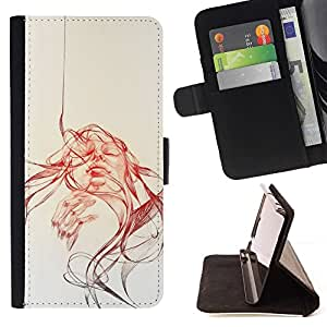 Momo Phone Case / Flip Funda de Cuero Case Cover - Abstract Girl - Pop Art - Samsung Galaxy J1 J100