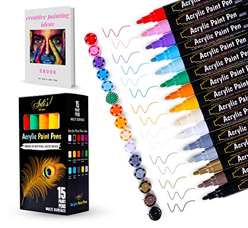 Adi's Art Pro Acrylic Paint Pens (15-Pc. Set) Medium Tip | Vibrant Deco Colors for Wood, Rock, Glass, Ceramic, and Fabric | Use for Touchups or DIY Arts and Crafts Projects