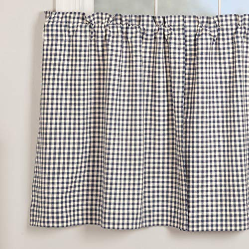 Piper Classics Doylestown Blue Gingham Check Tier Curtains, Set of 2, 36