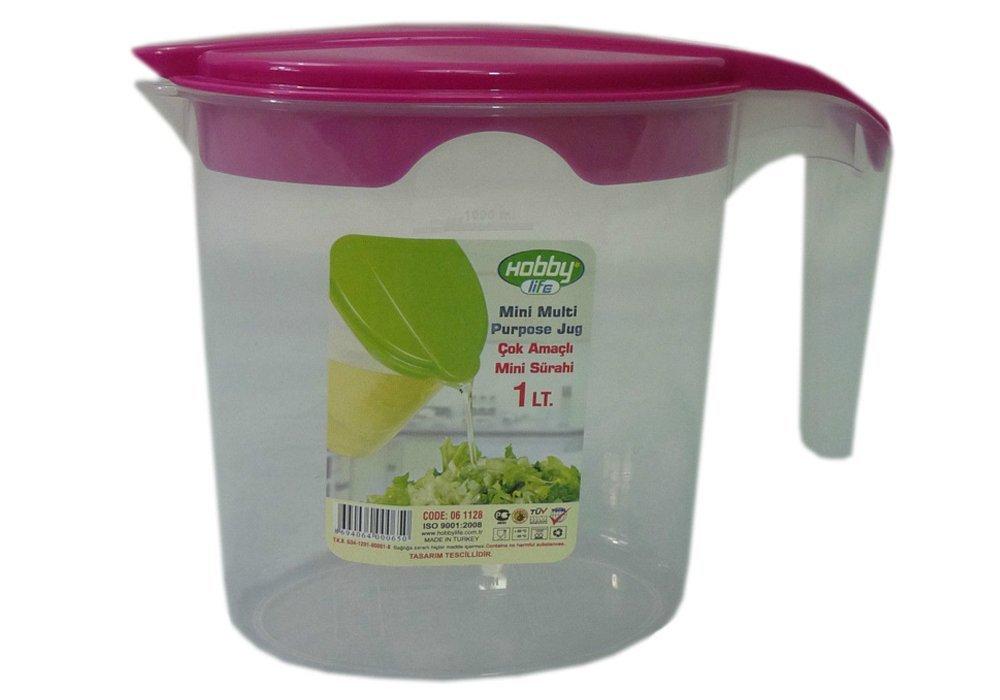 3/x pl/ástico 1/litro jarras con tapa de colores //–/Squash agua zumo de frutas