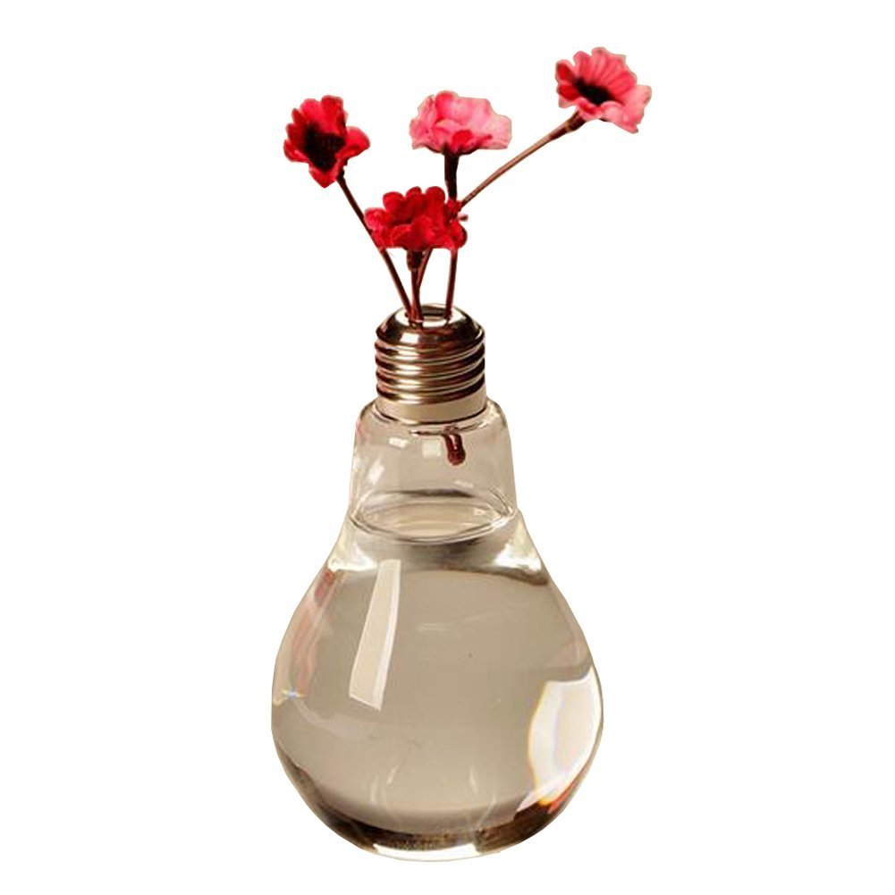 Qingsun Light Bulb Shape Glass Vase Transparent Glass Vase Flower Plant Hydroponic Container Pot Garden Decoration Vase
