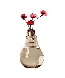 lumanuby Creative luz bombilla transparente jarrón flores jarrón de cristal contenedor de planta hidropónica Pot Colgar terrario bombilla flores maceta para suculenta decoración del hogar 1pieza