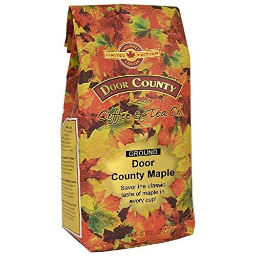 Door County Coffee, Fall Seasonal Flavored Coffee, Door County Maple, Flavored Coffee, Limited Time, Medium Roast, Ground Coffee, 8 oz Bag