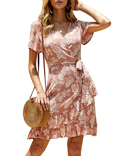 imesrun Womens V Neck Wrap Dress Floral Print Tie Waist Ruffle Hem A-line Swing Dress Pink