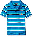 Image of U.S. Polo Assn. Little Boys' Short Sleeve Yarn Dye Pique Polo Top, Ocean Heather, 5/6