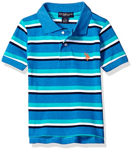 U.S. Polo Assn. Big Boys' Short Sleeve Heathered Yarn Dye Pique Polo Top, Ocean Heather, 14/16 Yarn Dye Pique Polo