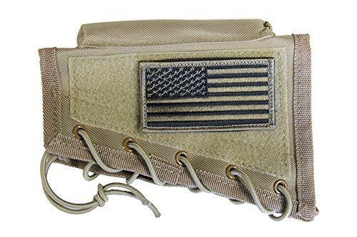 (M1SURPLUS Tan Cheek Rest + USA Patriot Flag Morale Patch Fits Remington 700 770 783 798 597 Model Seven 7 Weatherby Vanguard Mark V HOWA 1500 Rifles)