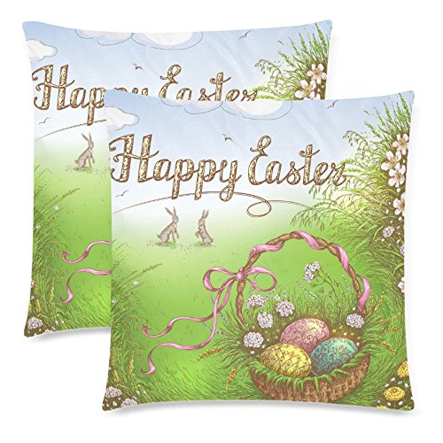 InterestPrint 2 Pack Happy Easter Basket with Egg Pillow Case Cover 18x18 Twin Sides, Easter Bunny near the Grass Zippered Throw Cushion Pillowcase Protector Set Decorative for Couch Bed (Happy Easter Basket)