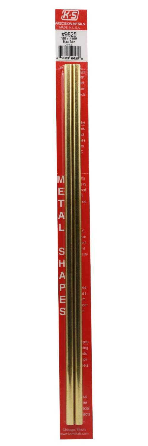 Made in The USA 2 Pieces per Pack K/&S Precision Metals 9825 Round Brass Tube 7mm O.D X .45mm Wall Thickness X 300mm Long