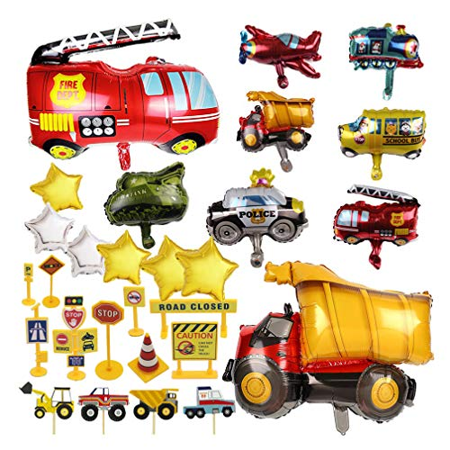(Construction Truck Party Balloon -55Pack Construction Theme Party Decoration Supplies Traffic Sign Cupcake Topper Truck/Fire Dept/School)