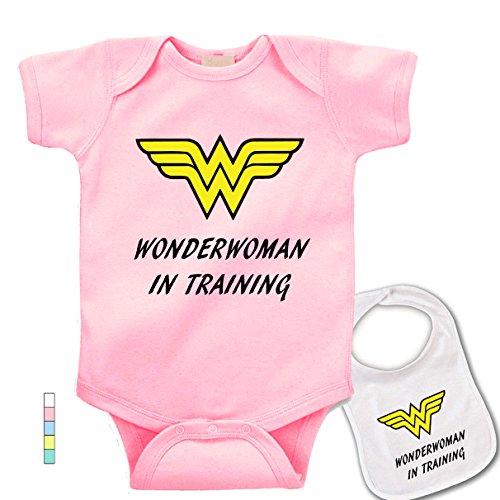babybytes Wonder Woman in training.Comics cosplay Boutique Baby bodysuit onesie & bib