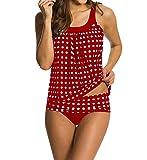 Eternatastic Women's Retro Polka Dot Tankini Swimwear Two Pieces Swimsuit Red L