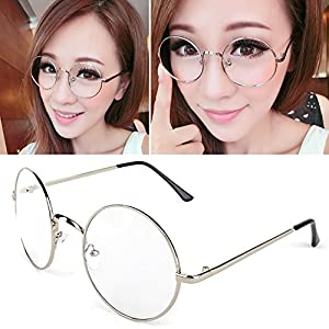 Jocestyle Women Dress Up Spectacles Halloween Party Cosplay Round Frame Glasses (04 Silver)