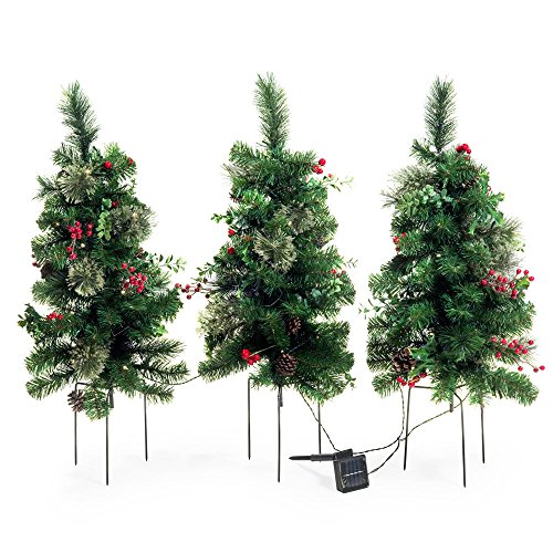 Solar Outdoor Pre-lit Christmas Tree Set of 3 Garden Entryway Decoration 2 ft. Trees with Pine Cones Berries Accents and Three-Pronged Stake by B.Living