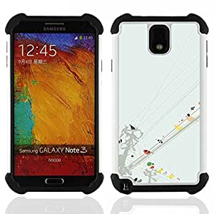 GIFT CHOICE / Defensor Cubierta de protección completa Flexible TPU Silicona + Duro PC Estuche protector Cáscara Funda Caso / Combo Case for Samsung Galaxy Note 3 III N9000 N9002 N9005 // Watercolor Minimalist Pastel //