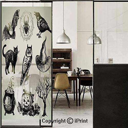 Vintage Halloween 3D Decorative Film Privacy Window Film No Glue,Frosted Film Decorative,Halloween Related Pictures Drawn by Hand Raven Owl Spider Black Cat Decorative,for Home&Office,17.7x59Inch Blac ()