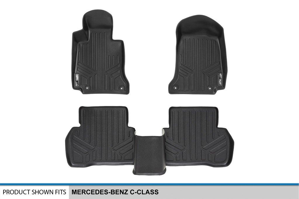 SMARTLINER Floor Mats 2 Row Liner Set Black for 2015-2018 Mercedes Benz C Class Sedan Only Maxliner USA A0165//B0165