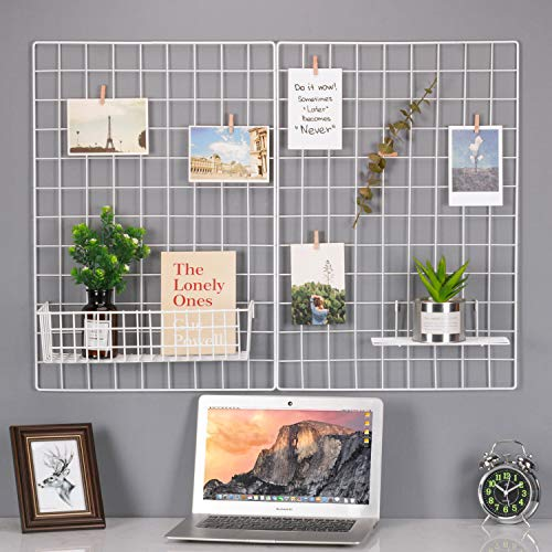 Kufox Wire Wall Grid Panel, Multifunction Painted Photo Hanging Display and Wall Storage Organizer, Pack of 2, Size 25.6
