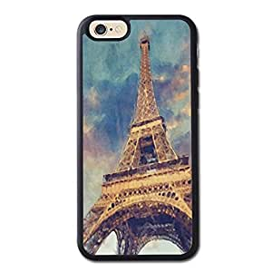 Chic Paris Eiffel Tower Cute Pastel Watercolor Generic High Quality Snap On Soft TPU Cellphone Case Back Skin Cover Protector For iPhone 6 4.7inch Black