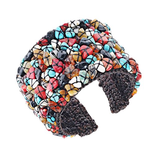 AeraVida 2 inches Wide Mosaic Multicolor Stones Cotton Wax Rope Cuff - Inch Mosaic 2