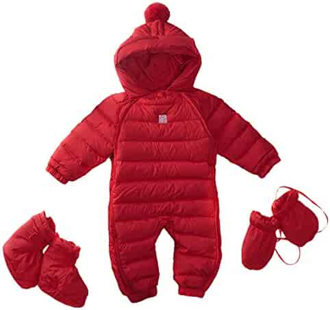 239a4c943 Bebone Newborn Baby Hooded Winter Puffer Snowsuit with Shoes and Gloves